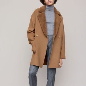 Trina Turk camel coat with shearling collar